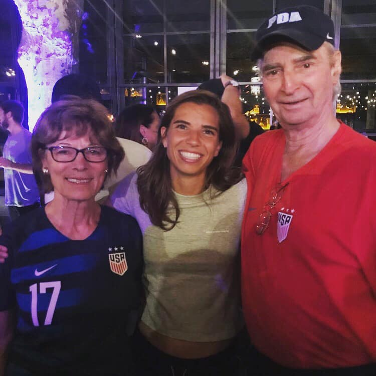 Tom and Evelyn Anderson with USWNT WC Champion and PDA Legend Tobin Heath